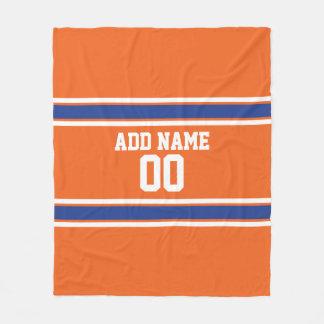 Orange and Blue Personalized Sports Jersey Fleece Blanket