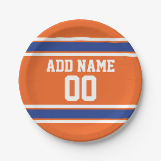 Orange and Blue Personalized Sports Jersey Paper Plate