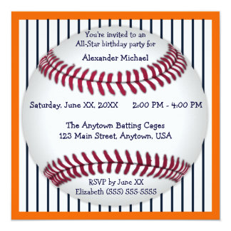 Orange And Blue Pinstripes Baseball Birthday Party Card