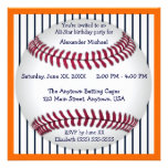 Orange And Blue Pinstripes Baseball Birthday Party Personalized Invite