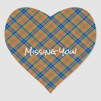 Orange and Blue Plaid Heart Sticker
