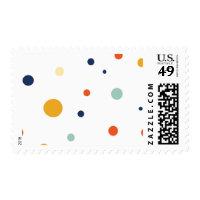 Orange and Blue Polka Dots Postage