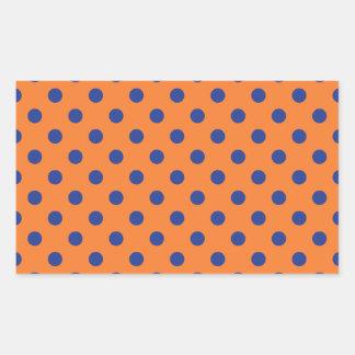 Orange and Blue Polka Dots Rectangular Sticker
