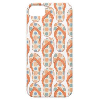Orange and blue Polka dotted flip flops iPhone SE/5/5s Case
