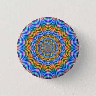 Orange and Blue Psychedelic Rings Button