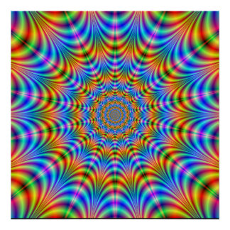 Orange and Blue Psychedelic Rings Poster