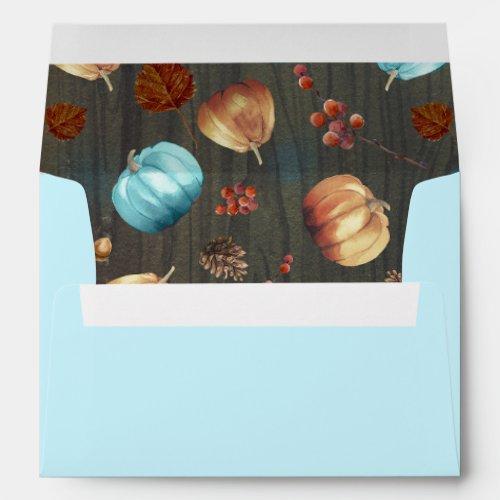 Orange and Blue Pumpkins Fall Baby Shower Envelope