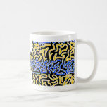 Orange and Blue scribble on black background Coffee Mugs