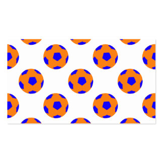 Orange and Blue Soccer Ball Pattern Business Card