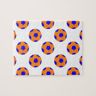Orange and Blue Soccer Ball Pattern Jigsaw Puzzle