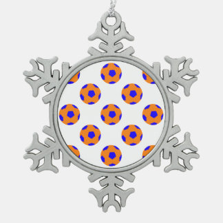 Orange and Blue Soccer Ball Pattern Snowflake Pewter Christmas Ornament