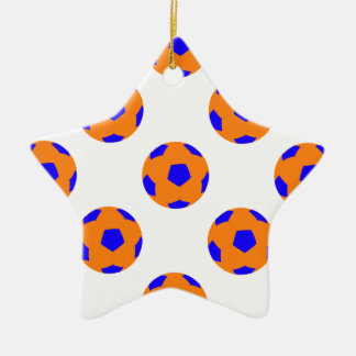 Orange and Blue Soccer Ball Pattern Double-Sided Star Ceramic Christmas Ornament