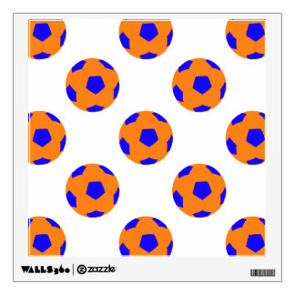 Orange and Blue Soccer Ball Pattern Wall Sticker