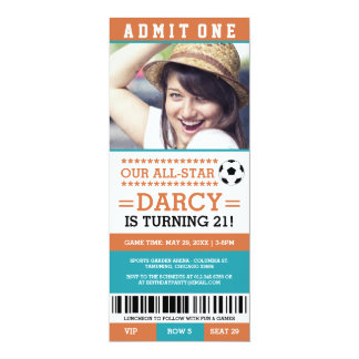 Orange and Blue Soccer Ticket Birthday Invites