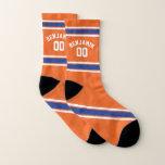 Orange and Blue Sports Jersey Stripes Socks
