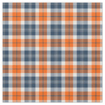Orange and Blue Sporty Plaid Fabric