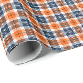Orange and Blue Sporty Plaid Gift Wrap