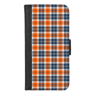 Orange and Blue Sporty Plaid iPhone 8/7 Wallet Case