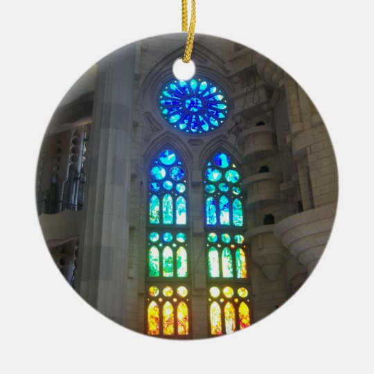 Orange and Blue Stained Glass Ceramic Ornament