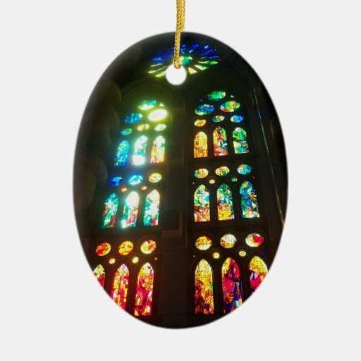 Orange and Blue Stained GlassOval Christmas Ornaments