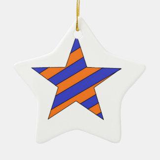 orange and blue star ceramic ornament