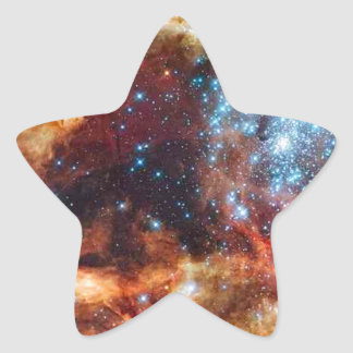 Orange and blue star cluster with twinkling stars star sticker