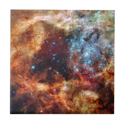 Orange and blue star cluster with twinkling stars ceramic tiles