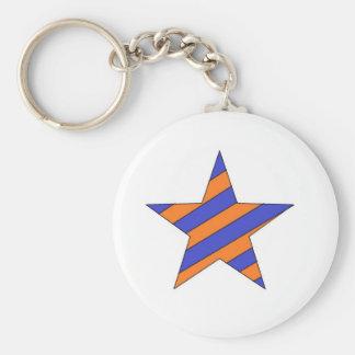orange and blue star key chain