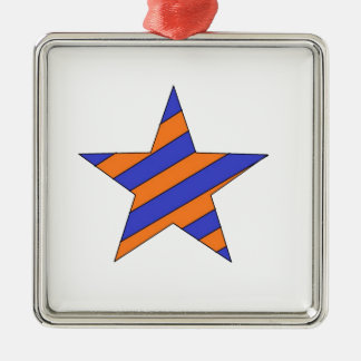 orange and blue star metal ornament