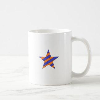 orange and blue star classic white coffee mug