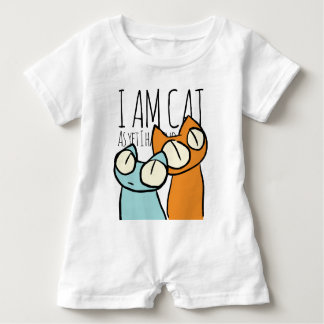 Orange and Blue Staring Cats Baby Romper