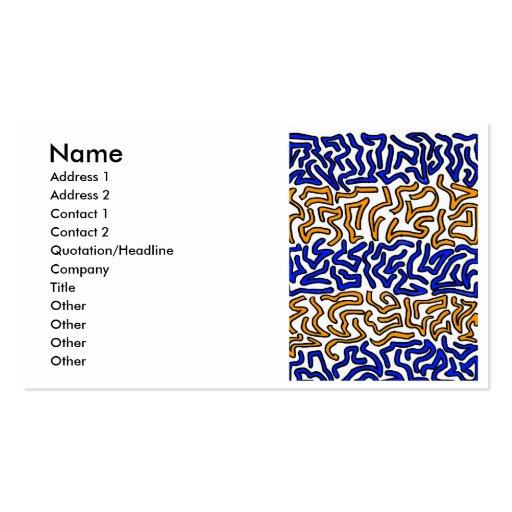Orange and blue string doodle design business card