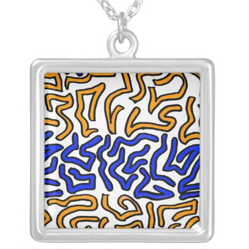 Orange and blue string doodle design jewelry