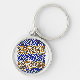 Orange and blue string doodle design Silver-Colored round keychain