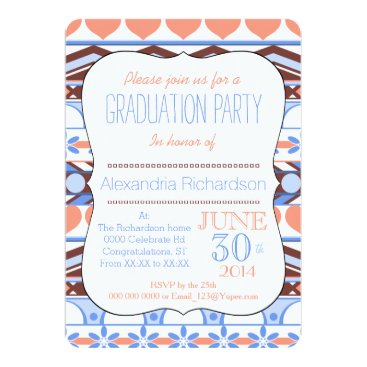 Aztec Themed Orange and blue striped aztec pattern graduation card