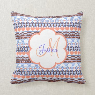 Aztec Themed orange and blue striped aztec pattern monogram throw pillow