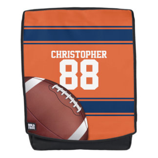 Orange and Blue Stripes Jersey Football Backpack