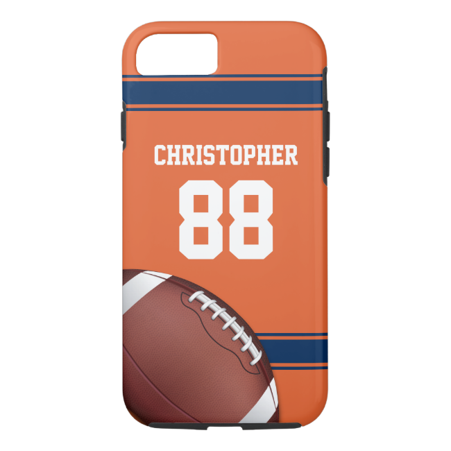 Orange and Blue Stripes Jersey Football iPhone 7 Case