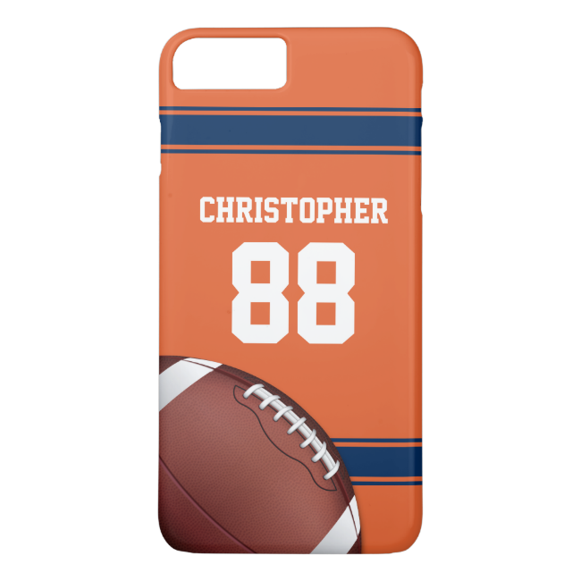 Orange and Blue Stripes Jersey Football iPhone 7 Plus Case