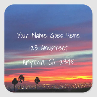 Orange and blue sunrise photo custom address square sticker