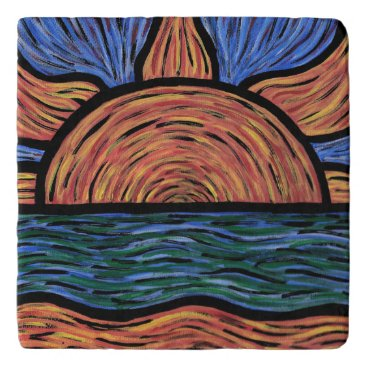 Beach Themed Orange And Blue Sunset Trivet