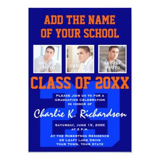Orange and Blue Team Colors Sports Graduation Card