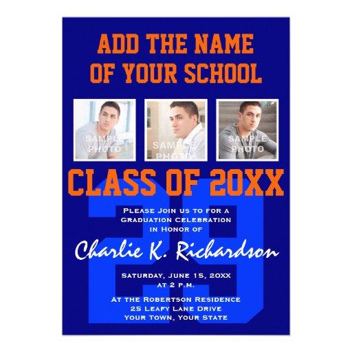 Orange and Blue Team Colors Sports Graduation Cards