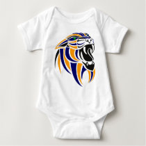 Orange and Blue Tiger Head Baby Bodysuit