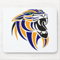 Orange and Blue Tiger Head Mouse Pad