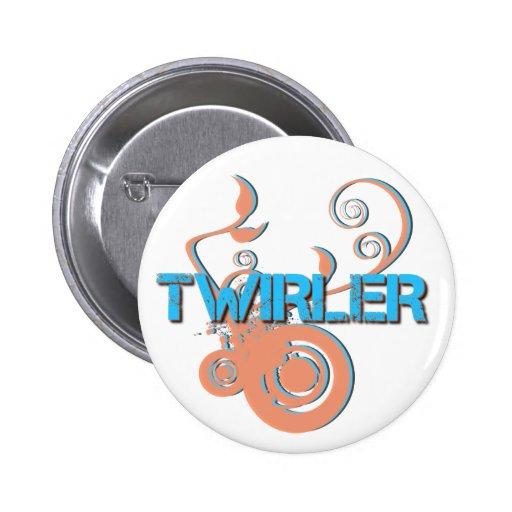 Orange and Blue Twirler Pin