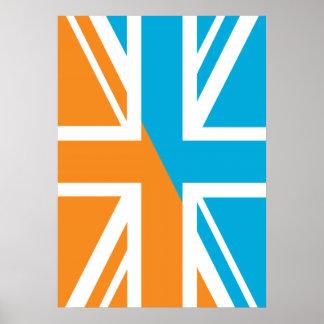Orange and Blue Union Jack British(UK) Flag Posters