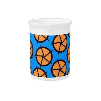 Orange and blue wheels print beverage pitchers