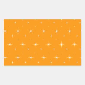 Orange And Bright Stars Elegant Pattern Rectangular Sticker