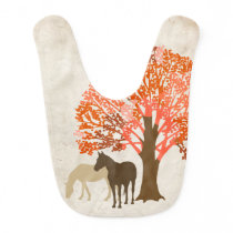 Orange and Brown Autumn Horses Bib